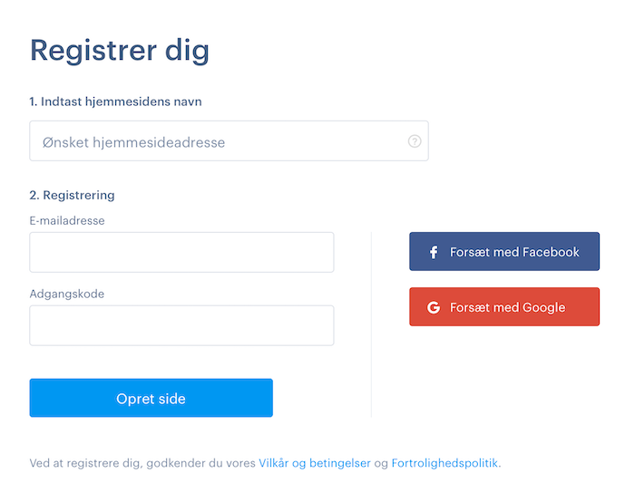 Lave hjemmeside hos Webnode