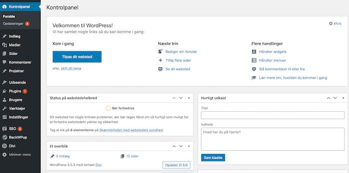 Wordpress kontrolpanel