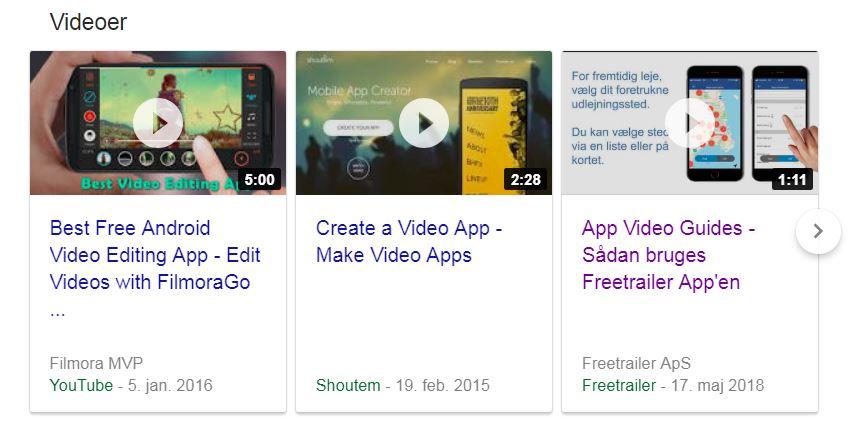 Video App søgning